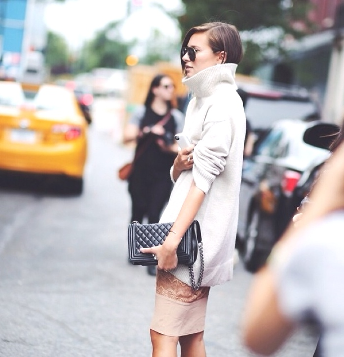 chunky turtleneck and skirt