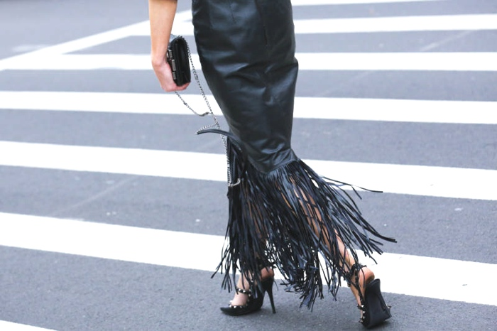 Fringed black leather skirt