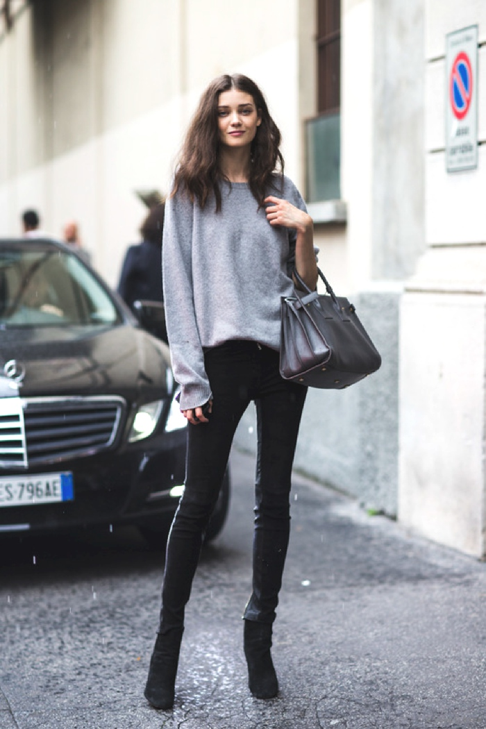 oversized knit and skinny pants