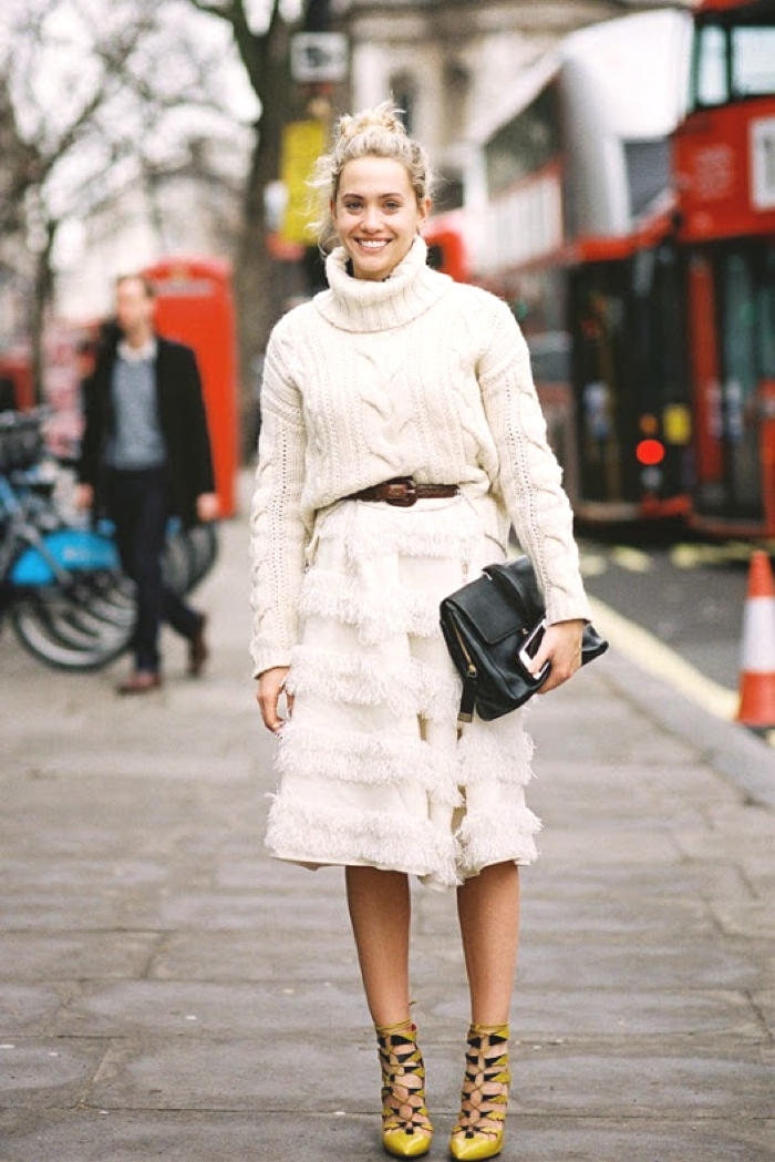 vanessa jackman  evening skirt and chunky cable knit