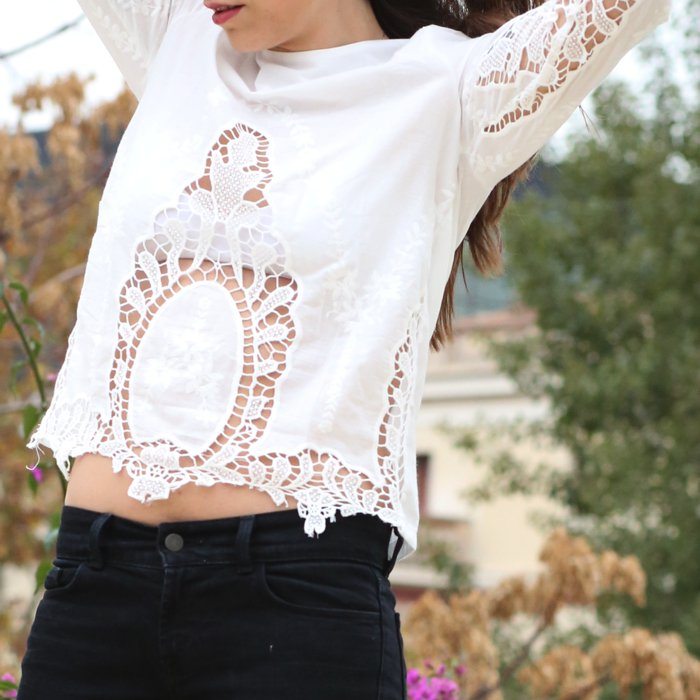 white cut out blouse