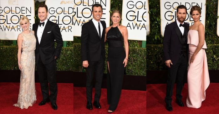 Anna Faris and Chris Pratt, Justin Theroux and Jennifer Aniston, Matthew McConaughey and Camila Alves Golden Globes 2015