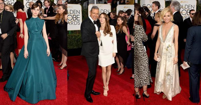 Felicity Jones, Jeff Goldblum and Emilie Livingston-Goldblum, Sienna Miller Golden Globes 2015