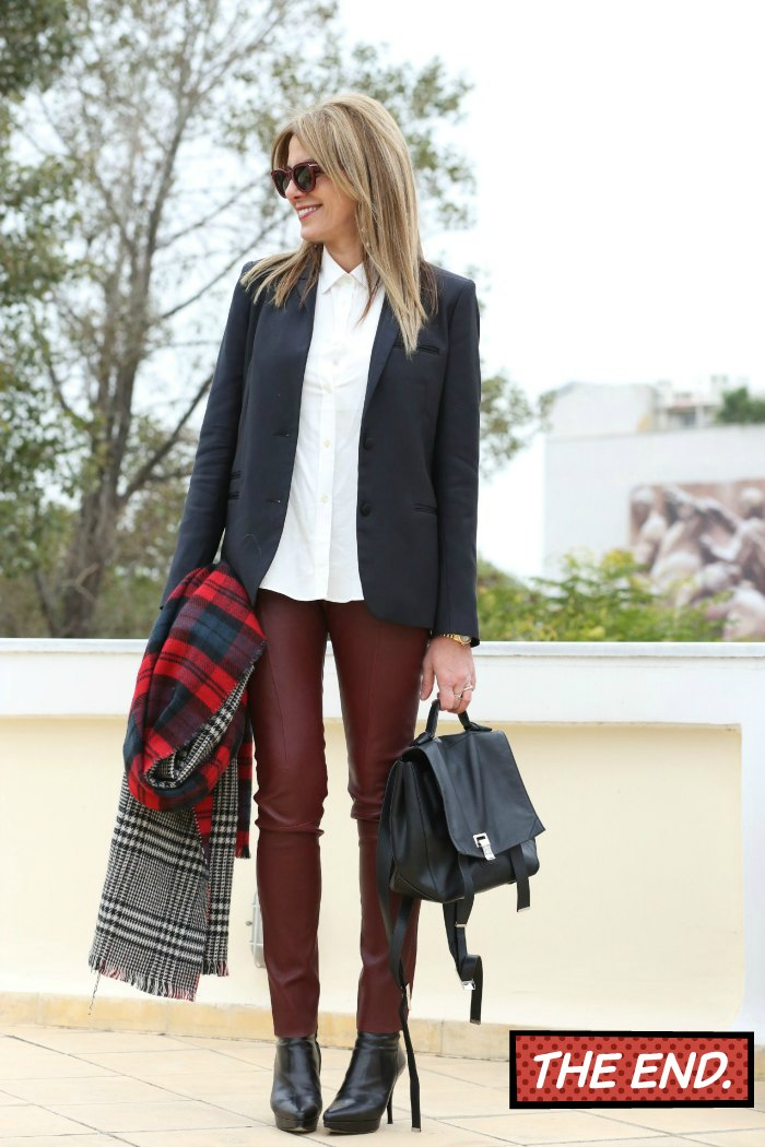 Leather Burgundy Acne pants , street style