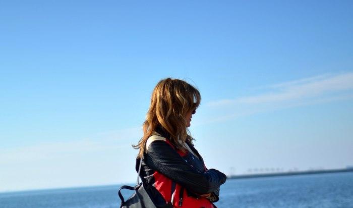 Nina Papaioannou Acne Leather jacket Red, black