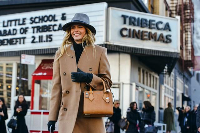 camel coat grey hat, street style