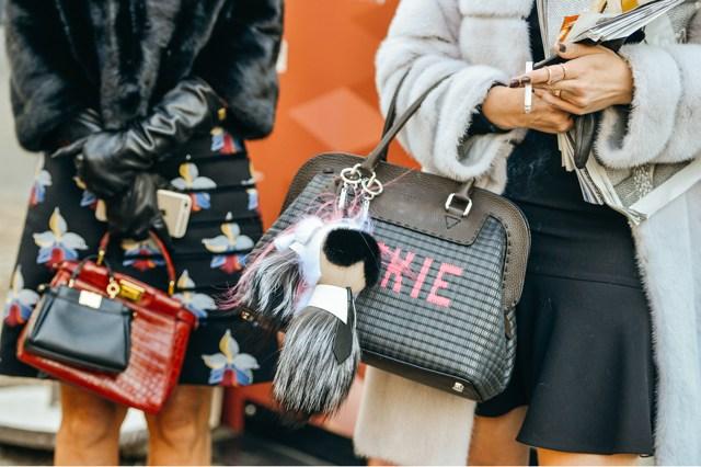 Fashion Week Street Style Fendi Karlito fur bag charm