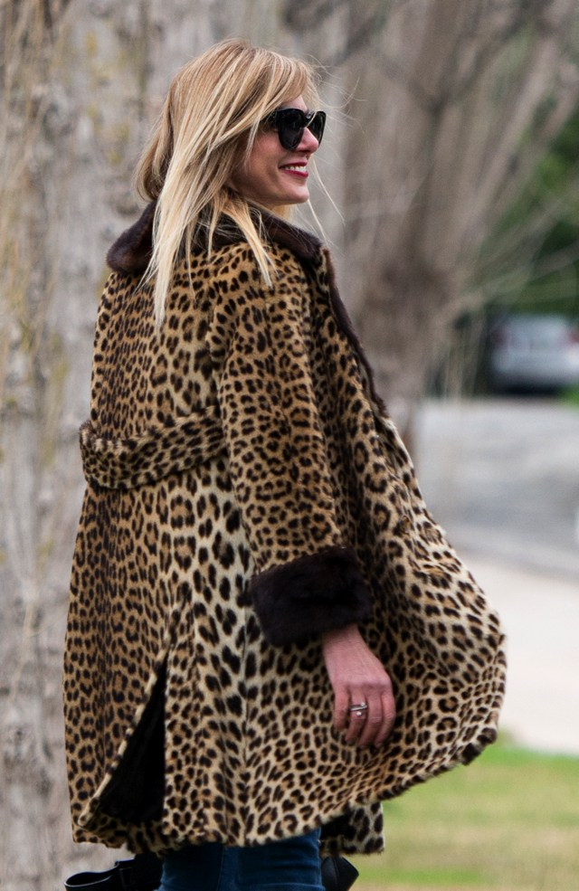 Leopard fur coat London fashion Week