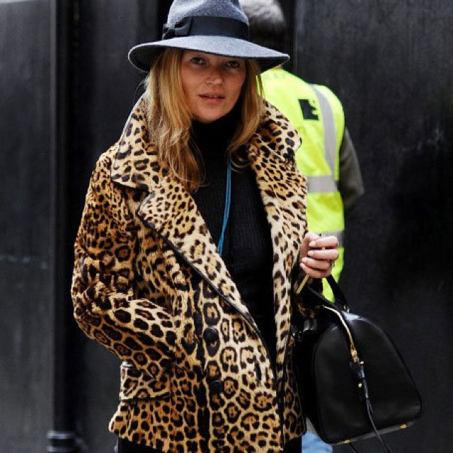 Kate Moss leopard coat