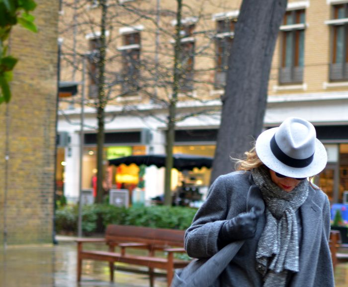London Cold Winter Outfit Idea, Maison Michel Andre hat