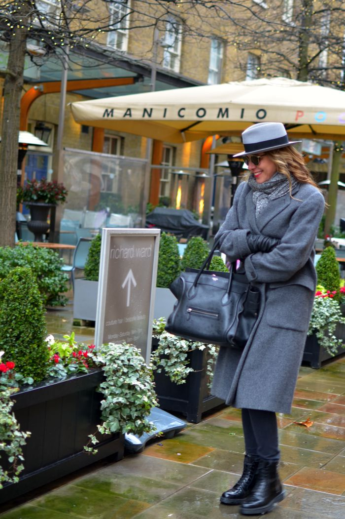 Cold weather city outfit, Maison Michel hat