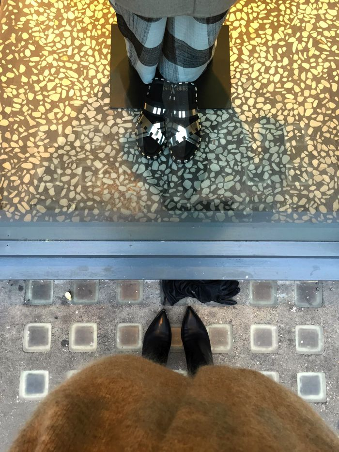 Acne Studios window, shoes selfie