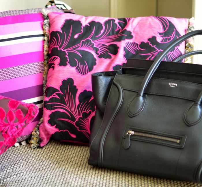 Celine bag, Designer Guild pillows