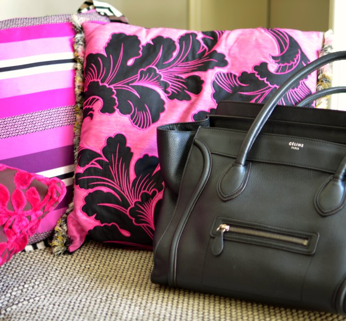 Designers Guild pillows, Celine bag