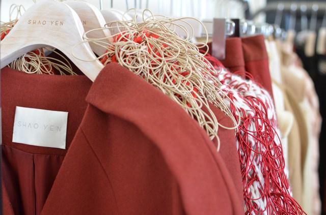 Shao Yen red jacket LFW showroom
