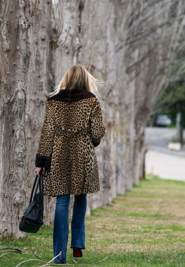 Street Style Leopard Fur Coat 70s Style