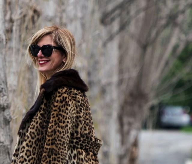 Street Style Leopard Coat 70s Style, Celine black sunglasses