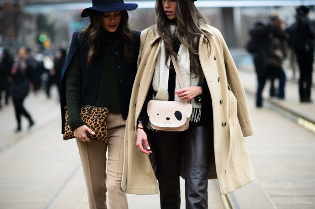 NYFW Camel coat leopard bag