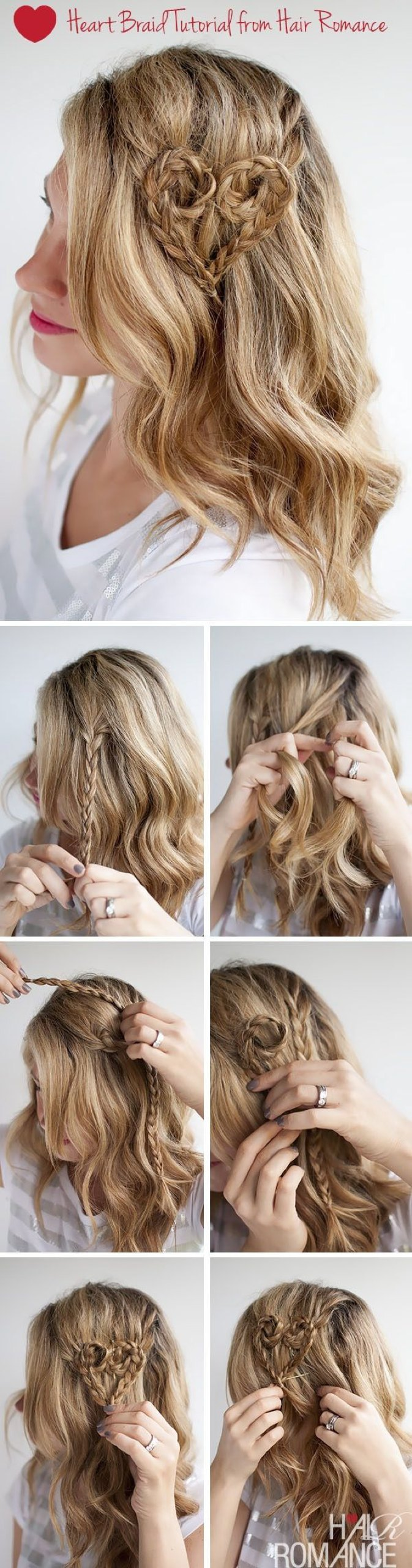 hair braid tutorial Valentine day for grown ups