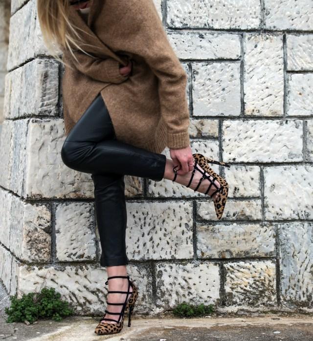 Acne Studios Camel cardigan leopard heels