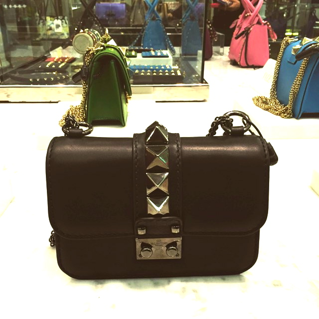 Black mini Lock Valentino silver hardware