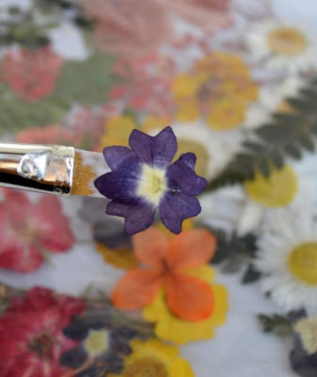 glue tiny flowers on eggs