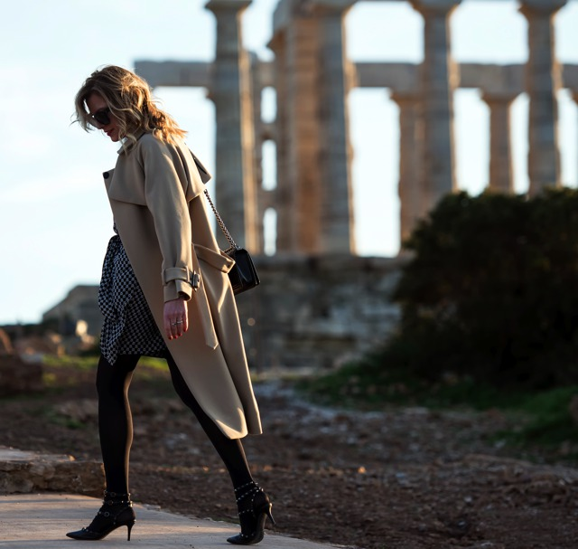 Isabel Marant dress Camel coat Finery, Greek Blogger Nina Papaioannou