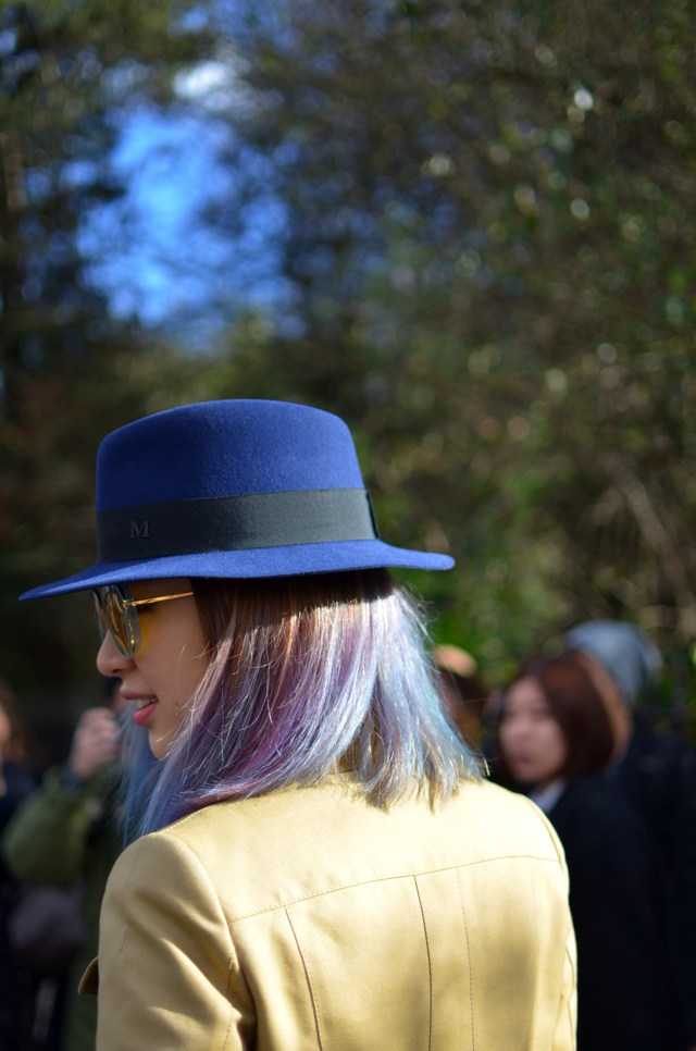 London Fashion Week Outside Burberry Show 2015 Maison Michel blue hat