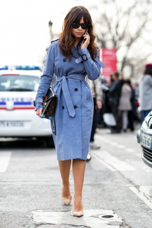 Duma Miroslava blue trench coat