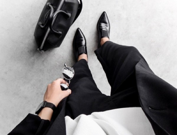 black and white pointy shoes