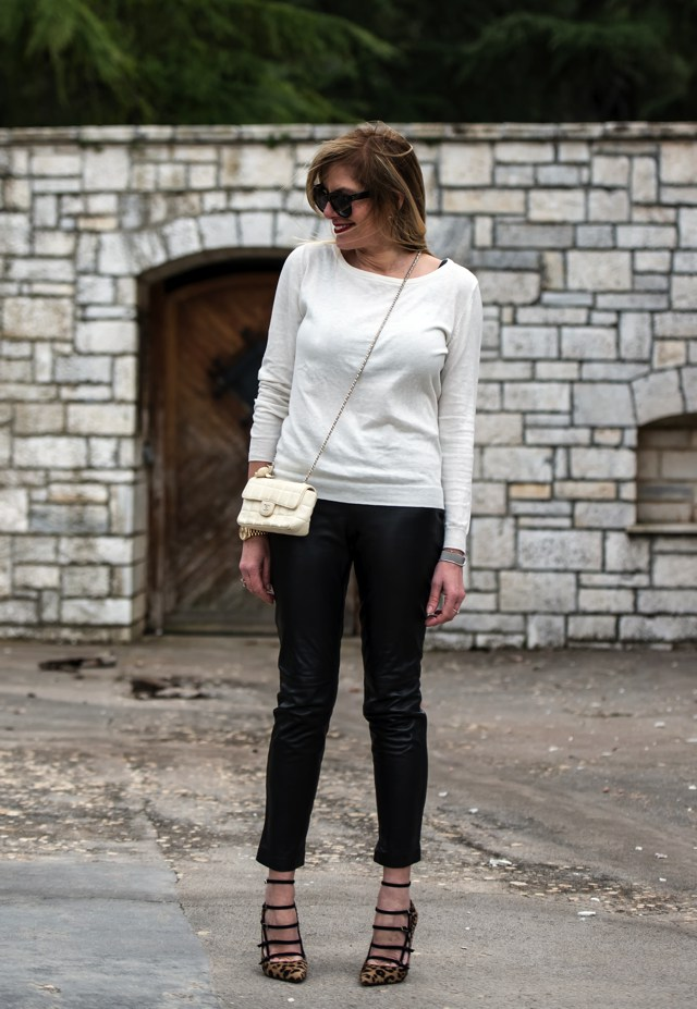 leather pants lightweight knitwear Tabitha Simmons shoes, Nina Paraioannou Trendsurvivor.