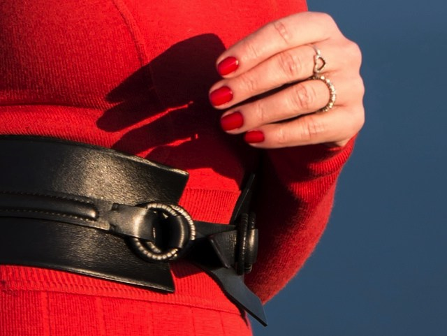 waisted leather belt , David Yurman heart ring