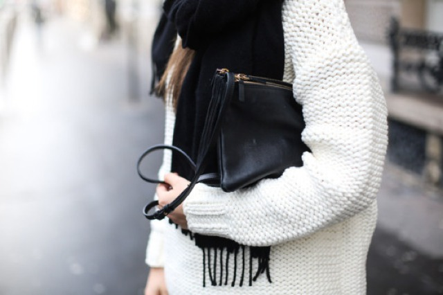 white jumper black bag