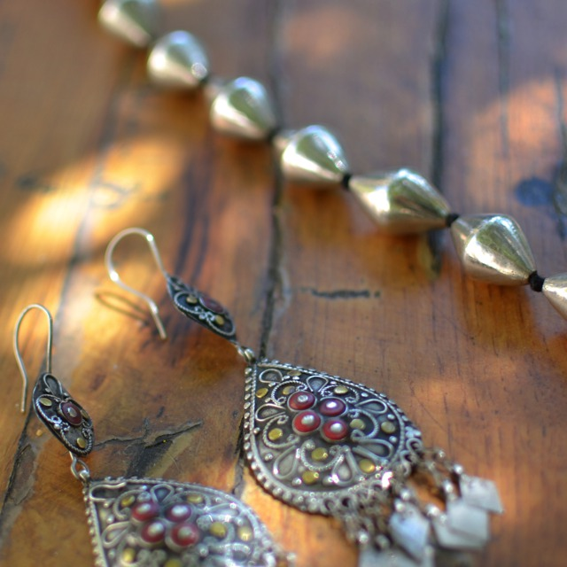 Asao ethnic earrings and necklace