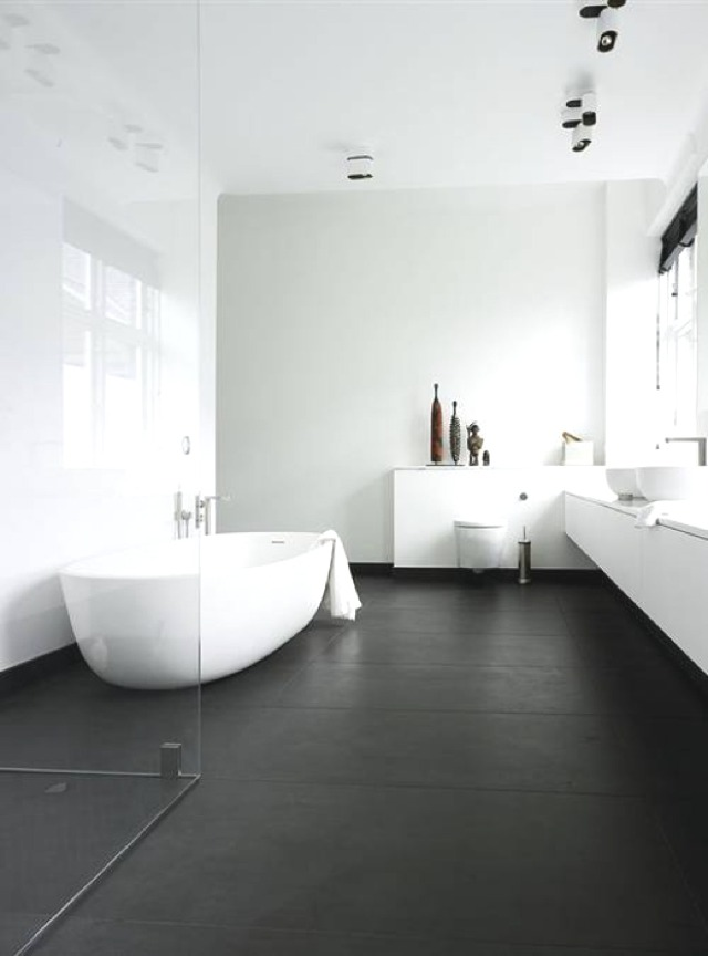bathroom black and white