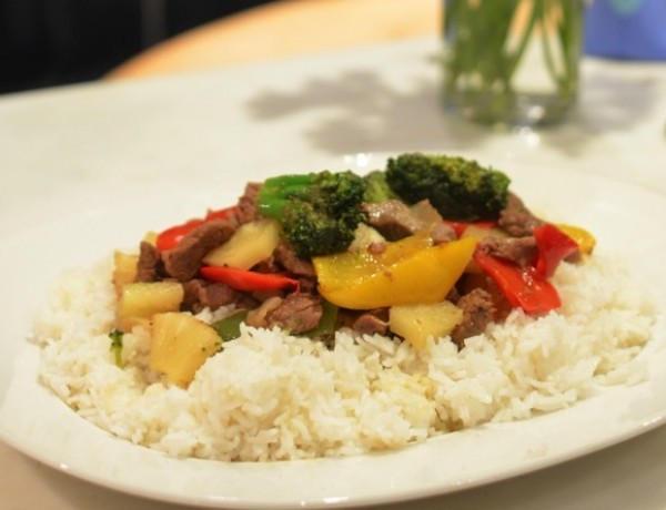 Easy Healthy Recipes | Four Color Peppers Beef with Pineapple 1