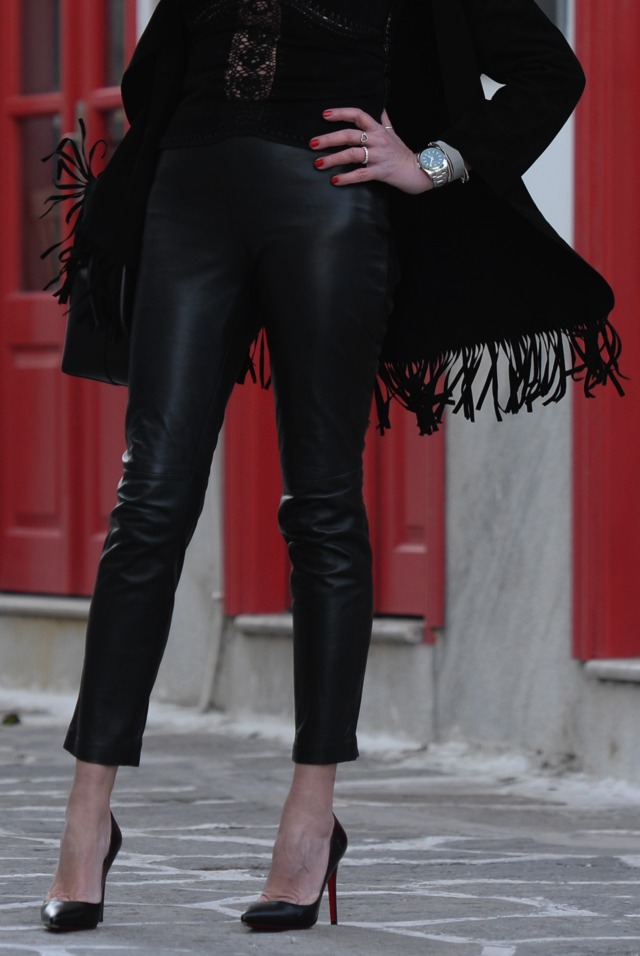 Mango Suede leather long fringed jacket00