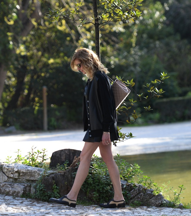 How to wear Ruffle Leather mini skirts - J Crew cardigan