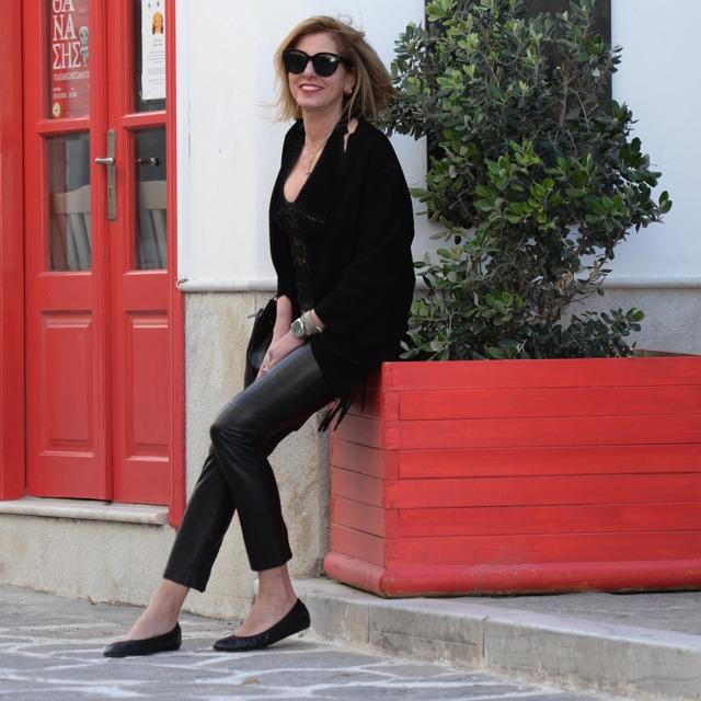 Suede leather long fringed jacket, Mansur Gavriel bucket bag, Lanvin ballerina flats