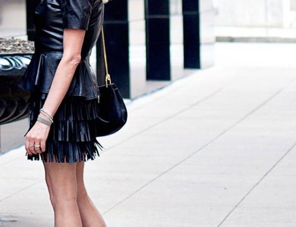 Total black Fringed skirt Tabitha Simmons shoes
