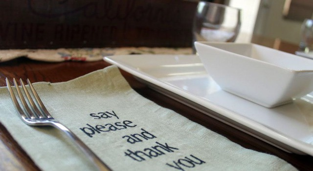 table manners say please and thank you