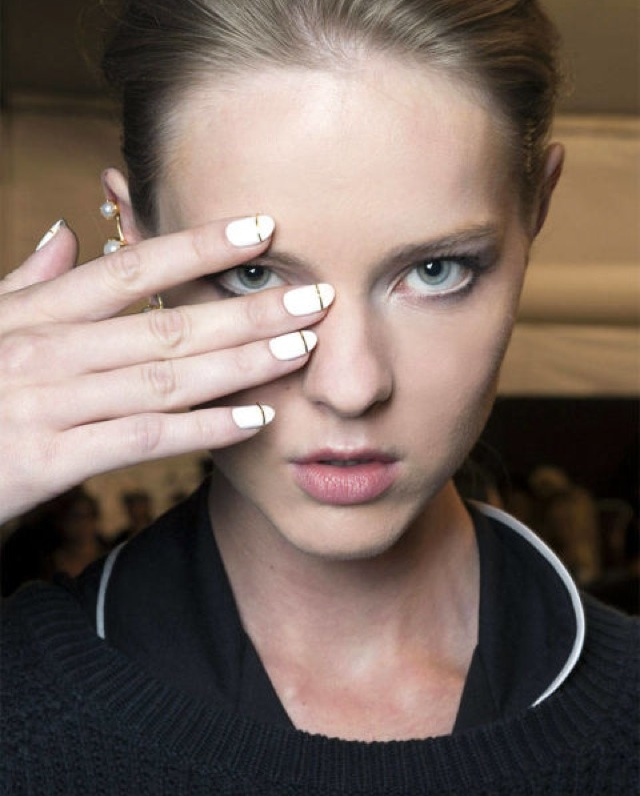 nail trends- white nails gold stripes Erin Fetherston