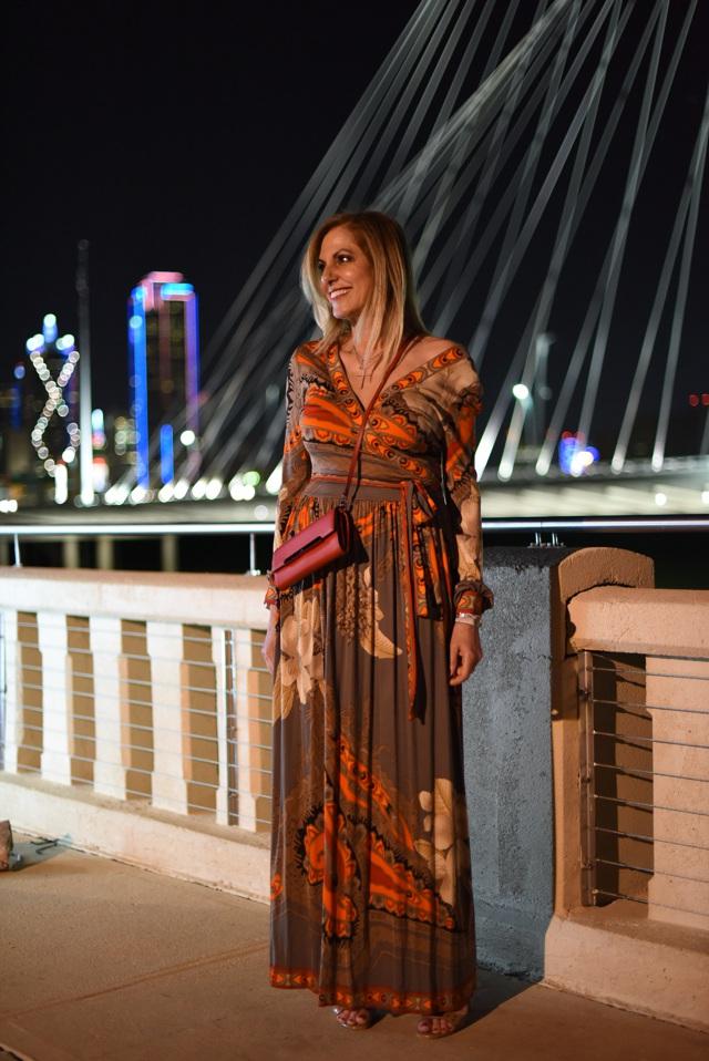 Maxi Leonard dress street style Dallas Continental bridge party
