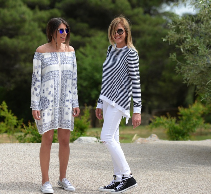 Mother daughter style Niki Svolou Nina Papaioannou Coastal Sunnies Converse sneakers Summer Street Style TrendSurvivor X KicksUSA