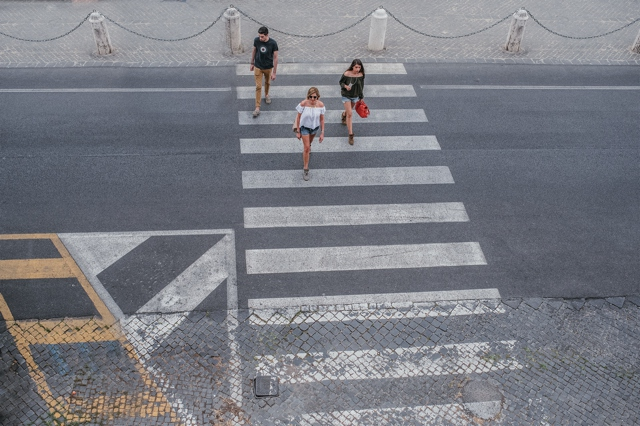 Family  Summer vacation Rome Zebra crossing