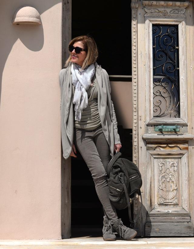 Skinny jeans, hoody, sage green, Isabel Marant sneakers, Alexander Wang backpack street style