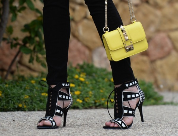 Tsakiris Mallas, Black and White Sandals Valentino lock mini yellow
