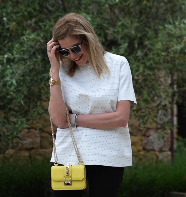 White leather top, Valentino lock mini street style