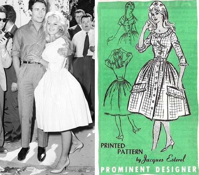 Brigitte Bardot wedding dress, illustration design Jacques Esterel