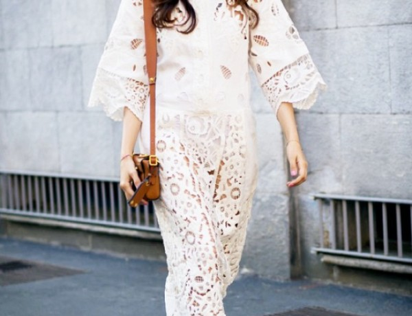 Eleonora Carisi Street Style White lace